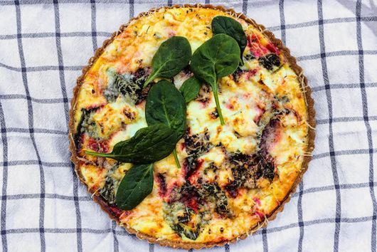 Roasted Beet, Baby Spinach, and Goat Cheese Quiche