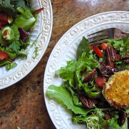 Mixed Greens Salad with Warm Goat Cheese Rounds and Balsamic Vinaigrette