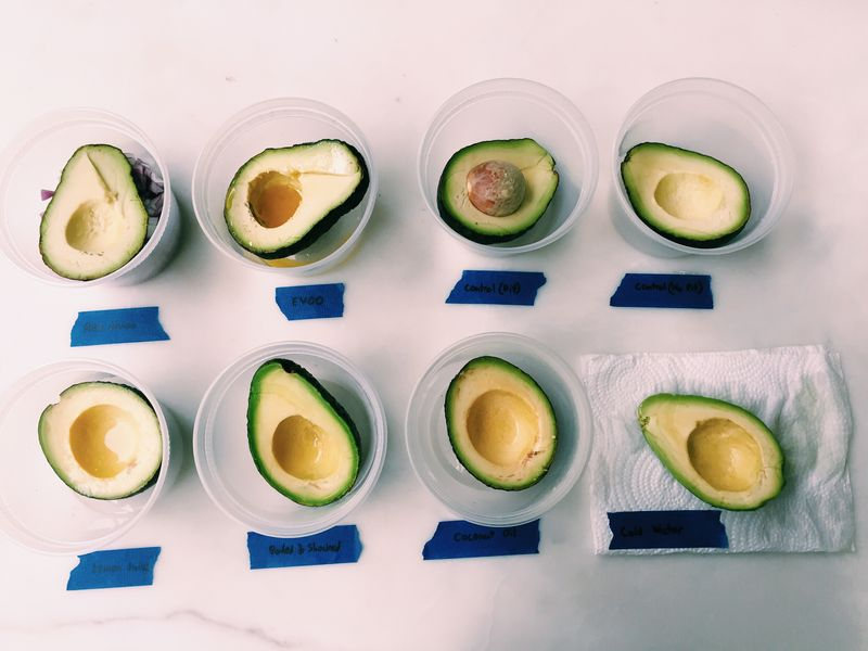 Our avocados, ready to brown (or not).