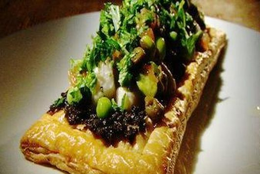 Swordfish on Puff Pastry with Tarragon Petite Peas