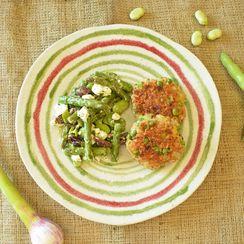 Greek Style Spring Vegetable Salad with Garden Patties