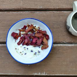 Roasted Rhubarb Yogurt Bowls With Lavender