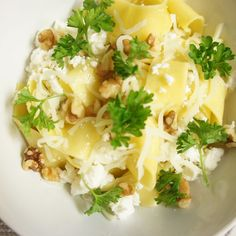 Rustic Pappardelle with Feta and Walnuts