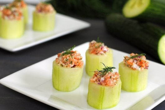Cucumber Cups with Smoked Salmon Salad