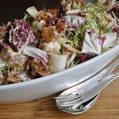 Chicory Salad with Torn Croutons and Lemon Yogurt Dressing