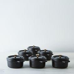 Staub Mini Round Cocotte, Black, 0.25QT (Set of 6)