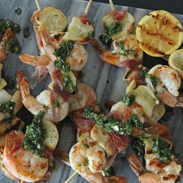 Prosciutto Wrapped Shrimp Skewers with Italian Salsa Verde