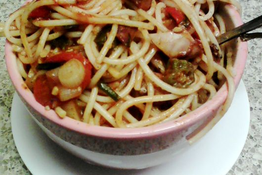 Okra and Octopus Pasta Bowl