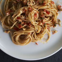 Capellini with Fresh Tomato Pesto + Pecorino