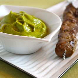 Skewered Steak Tips with Avocado Gastrique
