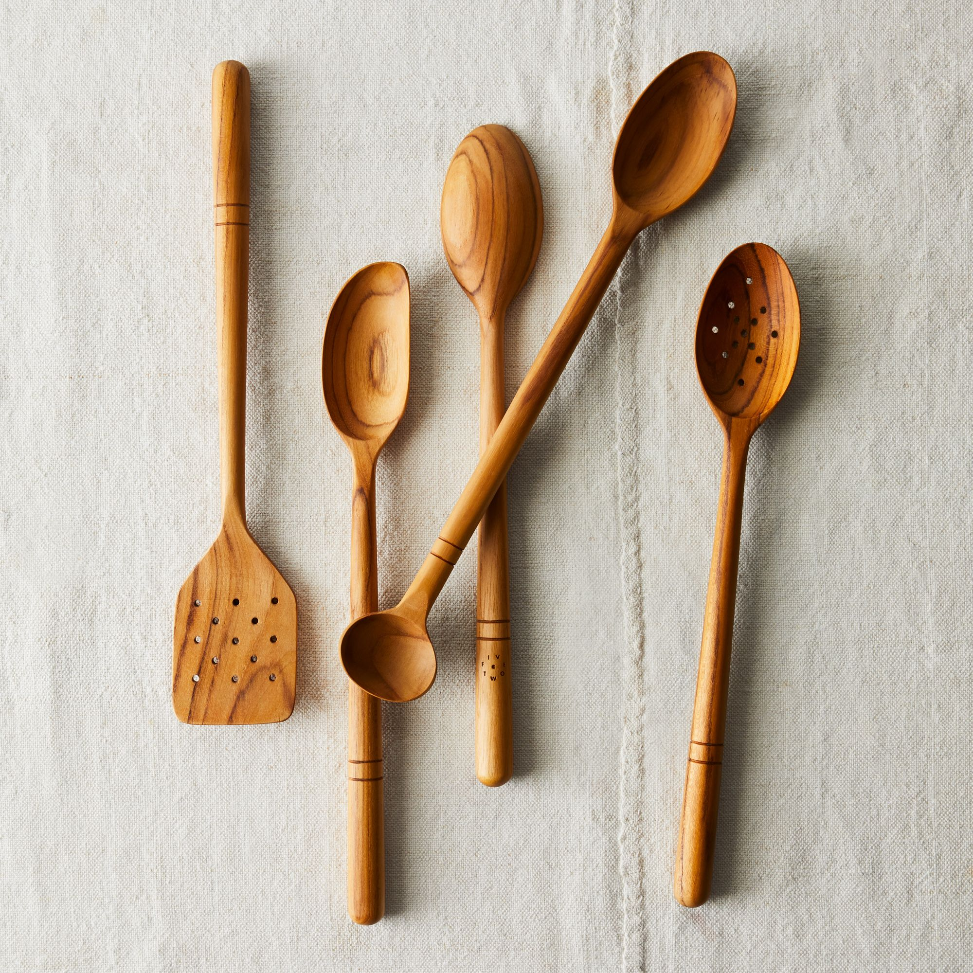 Five Two Wooden Spoons, Teak Wood, Kitchen Tool on Food52