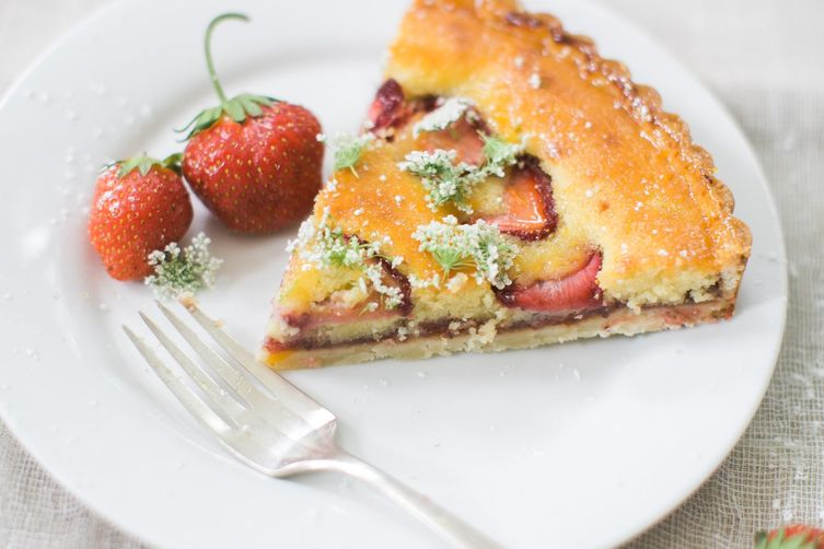 Roasted Strawberry-Tomato Tart with Elderflower Frangipane