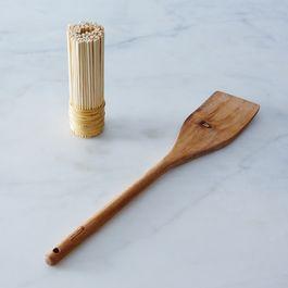 Bamboo Pot Scrubber and Acacia Wood Paddle Bundle