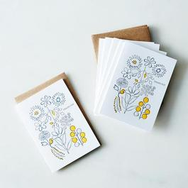 Flower Thank You Letterpress Cards (Set of 6)