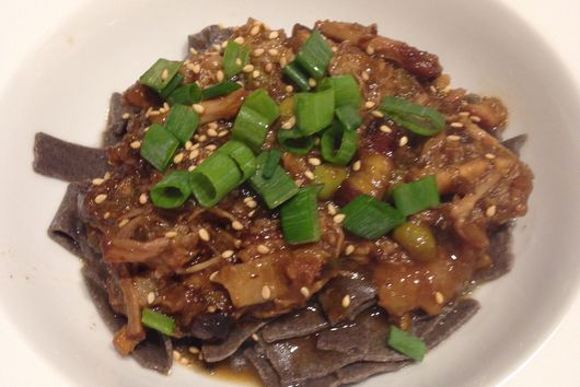 Braised 5 spicepork belly with roasted eggplant, scallions, hoisin and edamame