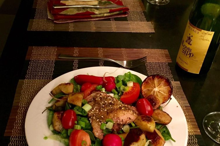 Dinner Salad with Roasted Chicken Thighs, Caperberries and Roasted Lemons