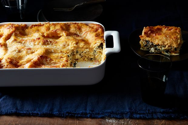 Kale and Italian Sausage Lasagna with Pumpkin Béchamel