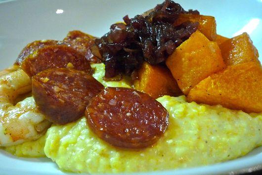 Spiced butternut squash with polenta, shrimp & chorizo