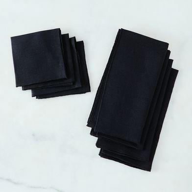 Black Linen Napkins (Set of 4)