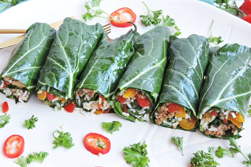 Turkey Sausage Stuffed Collard Green Wraps