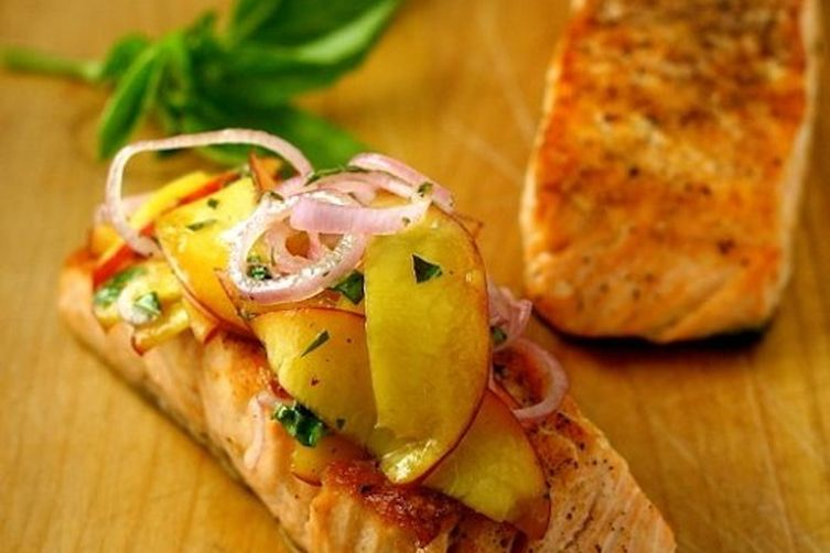 Grilled Salmon with Peach and Pickled Onion Salad