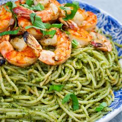 Walnut Pesto Pasta with Grilled Garlic Shrimp