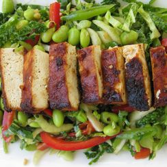 Spicy Baked Tofu on Asian Slaw