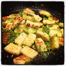 Homemade gnocchi with coriander and roasted almond pesto
