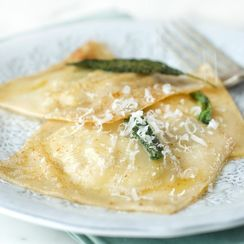 Artichoke and Mascarpone Ravioli with Brown Butter and Sage Sauce