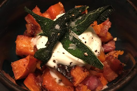 Butternut Squash with Pancetta and Sage Leaves