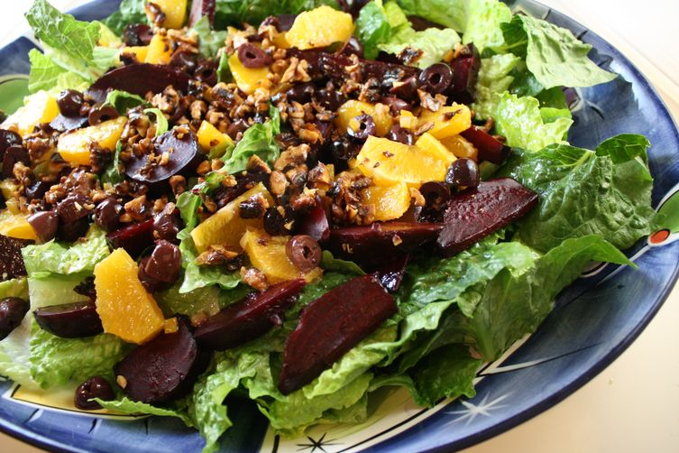 Beet, Orange, Olive and Walnut Salad