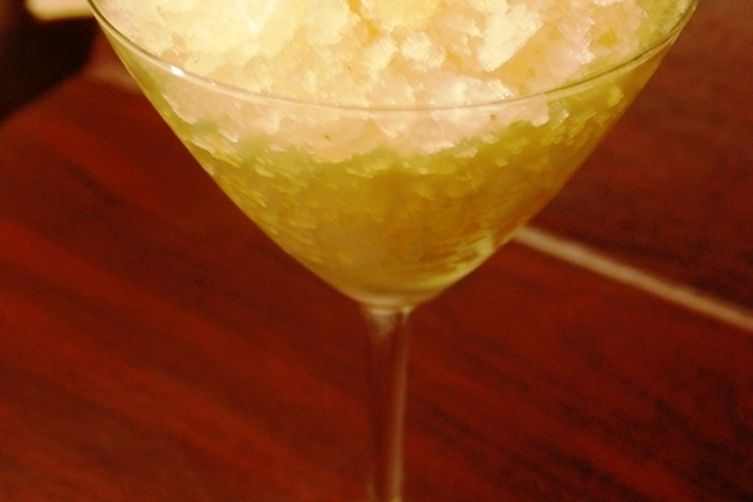 Apple Cider Granita with Basil and Candied Ginger