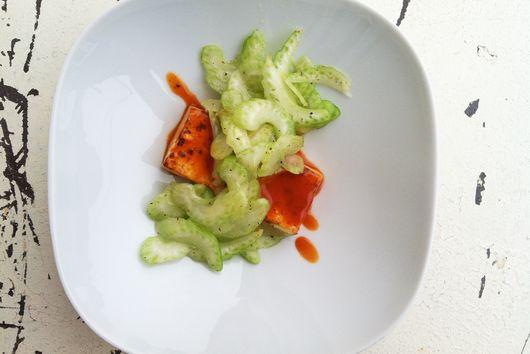 Buffalo Tofu with Celery Salad