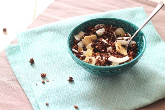 Chocolate, pecans, bananas, coconut and ginger granola