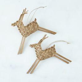 Woven Rattan Reindeer Ornaments (Set of 2)
