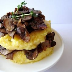 Polenta with mushrooms, bacon and onions