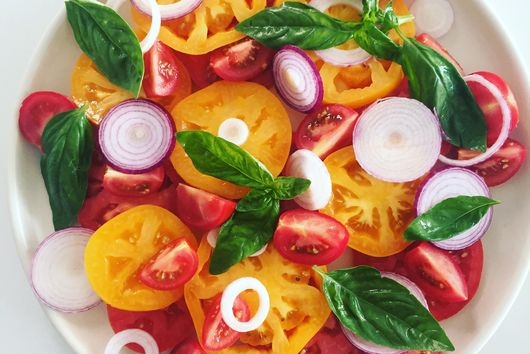 Summer Tomatoes with Basil and Shallots