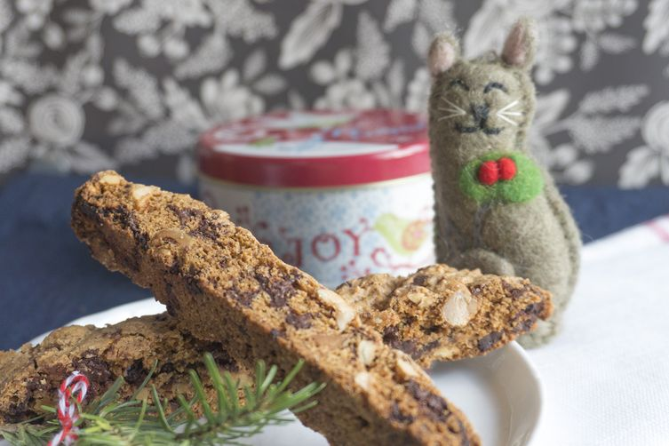dark chocolate hazelnut biscotti