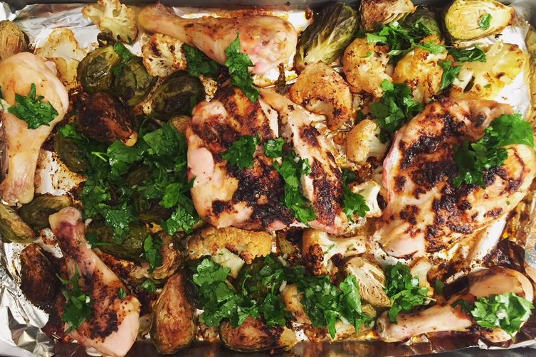Sumac Chicken with Cauliflower and Brussels Sprouts