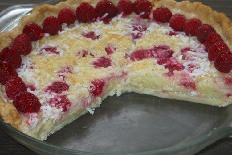 French Coconut Raspberry Pie