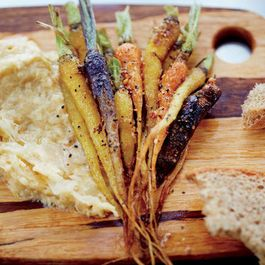 Spiced Little Carrots with Chickpea-Sauerkraut Puree