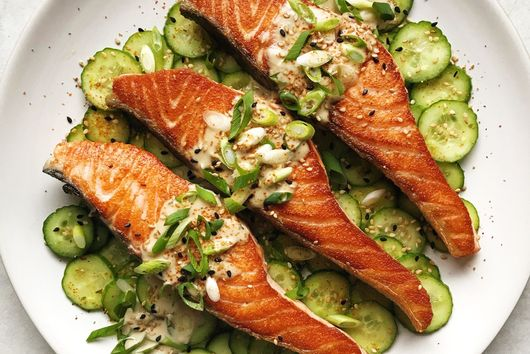 Pan-Seared Salmon With Garlicky Miso-Tahini Sauce & Salted Cucumber Salad