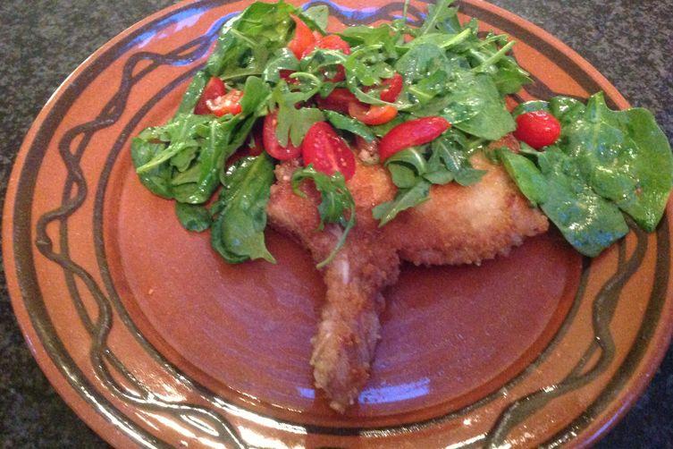 Crunchy Pork Chops w/ Arugula & Spinach Salad
