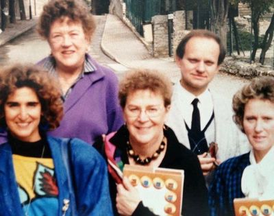 Taken in the Roman ruins of Vaison-la-Romaine for my 40th birthday celebration in 1986. In the photo: Martha Shulman, Julia Child, Maggie Shapiro, Joël, and his wife Janine. (I was at home cooking!)