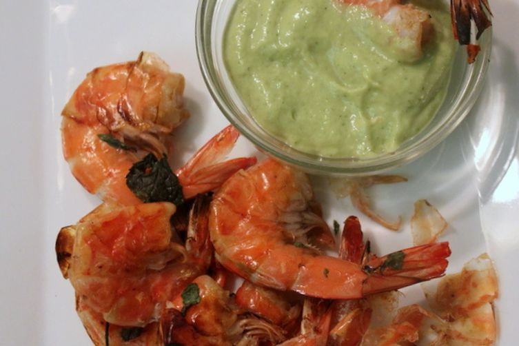 """Cocktail"" Shrimp with Spicy Mint-Avocado Dipping Sauce"