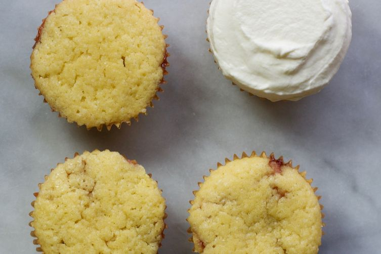Small Batch Semolina Cupcakes with Strawberry Jam