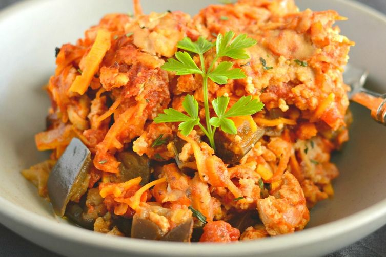 Paleo Turkey Sweet Potato Casserole With Eggplant & Tomato