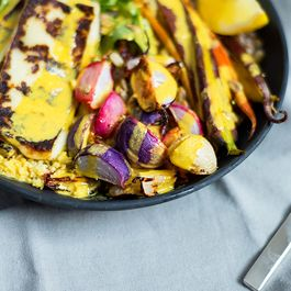 Spring Vegetable Grain Bowl with Halloumi and Turmeric-Tahini Dressing