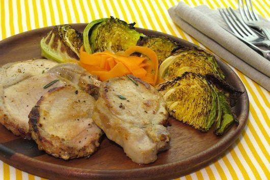 Pan roast Juniper-Brined Pork Chop with Charred Cabbage