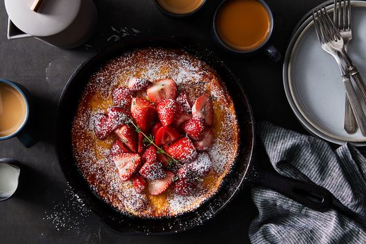 Kamut Dutch Baby with Strawberries and Thyme